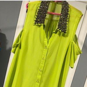 Lush Lyme Green embellished top
